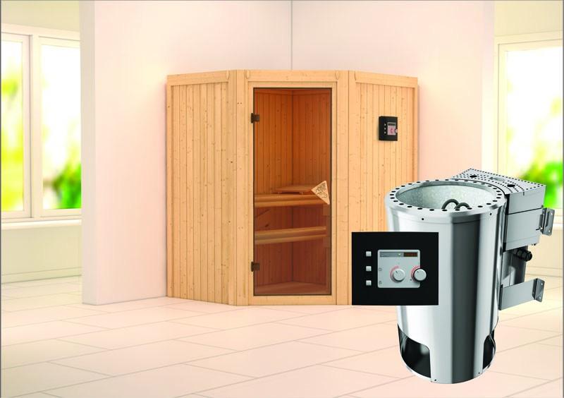 Karibu Heimsauna Tonja (Eckeinstieg) Ofen 3,6 kW Bio-Ofen externe Strg. modern Kein Kranz Plug & Play 230Volt Sauna