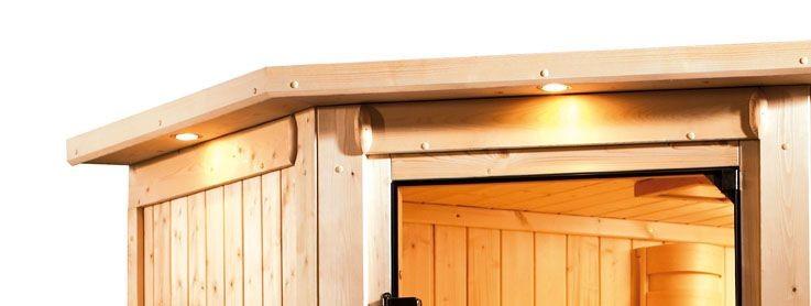 Karibu Plug & Play Systemsauna 68mm Tonja mit Eckeinstieg und Bronzierter Tür - mit Dachkranz