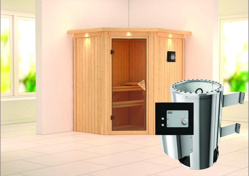Karibu Heimsauna Tonja (Eckeinstieg) Ofen 3,6 kW externe Strg.modern mit Dachkranz Plug & Play 230Volt Sauna