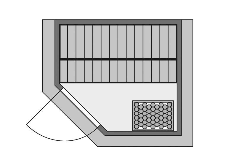 Woodfeeling 38 mm Massiv Sauna Mia Energiespartür (Eckeinstieg)