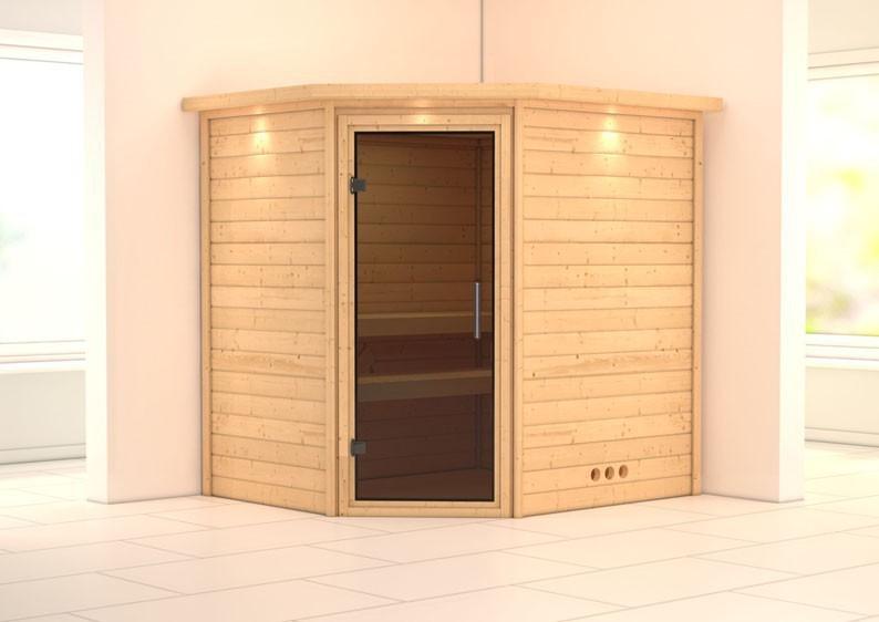 Woodfeeling 38 mm Massiv Sauna Mia Energiespartür (Eckeinstieg) mit Dachkranz