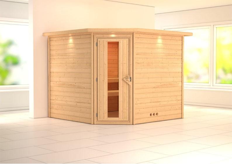 Woodfeeling 38 mm Massiv Sauna Leona Energiespartür (Eckeinstieg) mit Dachkranz