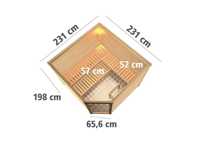 Woodfeeling 38 mm Massivholzsauna Leona - Eckeinstieg - Ganzglastür bronziert - ohne Dachkranz
