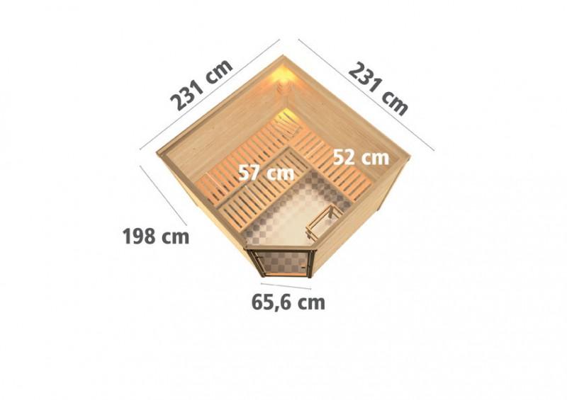 Woodfeeling 38 mm Massiv Sauna Leona Classic (Eckeinstieg)