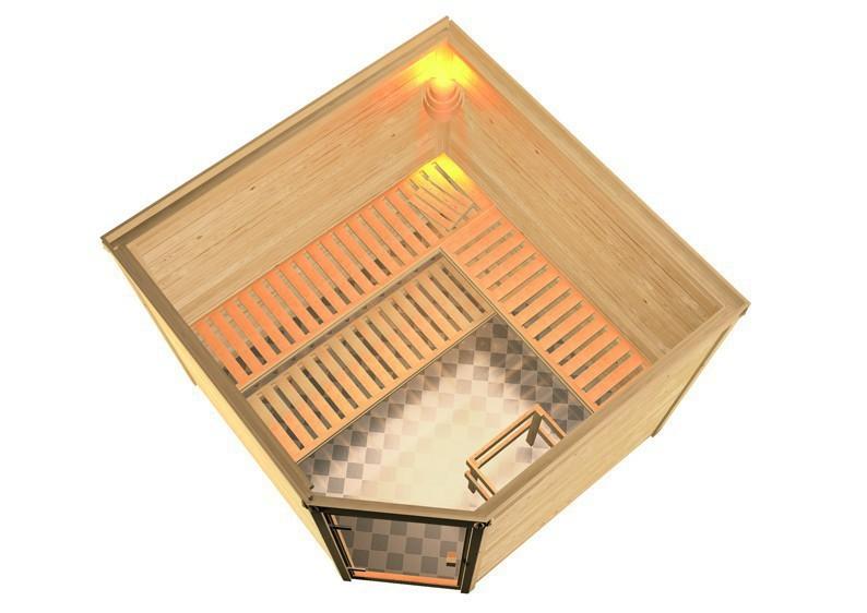 Woodfeeling 38 mm Massiv Sauna Leona Classic (Eckeinstieg) mit Dachkranz