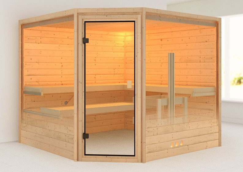 Woodfeeling 38 mm Massiv Sauna Leona Modern (Eckeinstieg) mit Dachkranz