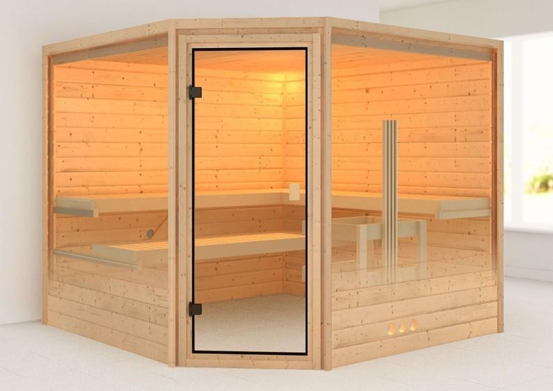 Woodfeeling 38 mm Massiv Sauna Leona Energiespartür (Eckeinstieg)