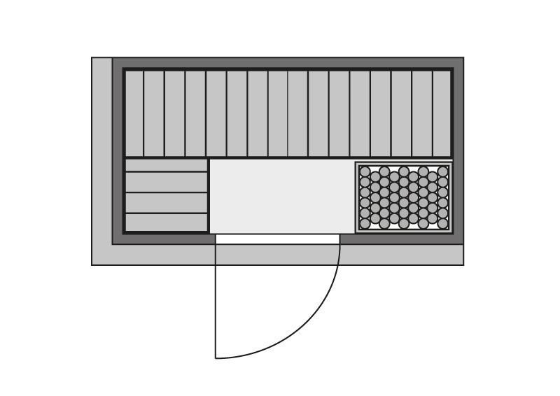 Karibu Multifunktionskabine Variado (Fronteinstieg) 68 mm inkl. Ofen 9 kW + eViva Infrarotstrahler + Leuchte