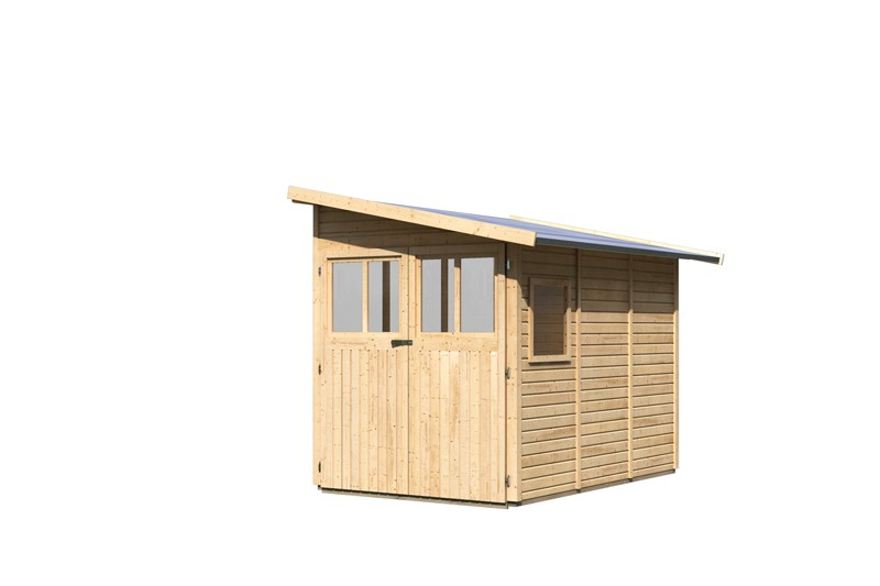 Karibu Holz-Gartenhaus Wandlitz 3 Anlehnhaus - 19 mm Wandstärke( dreiwandig)  - naturbelassen