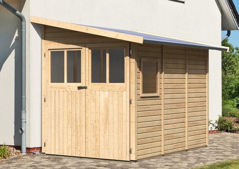 Karibu Holz-Gartenhaus Wandlitz 3 Anlehngartenhaus - 19 mm Wandstärke( dreiwandig)  - naturbelassen