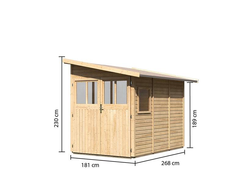 Karibu Holz-Anlehngartenhaus Wandlitz 3 - 19 mm Wandstärke (dreiwandig) - 8,7 cbm umbauter Raum - naturbelassen