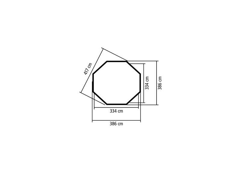 Karibu Holzpavillon Rom 2 8-Eck Premium - natur