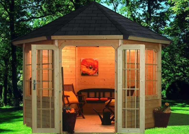Sehr Karibu Holzpavillon Roma 2 8-Eck Premium - natur EG66