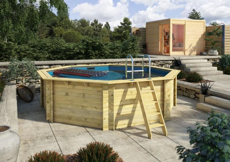 Karibu Pool Holz Swimmingpool Variante A Poolgrundkörper inkl. Vlies, Folie, kdi Holzdeck und Edelstahlleiter