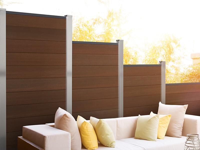 TraumGarten Sichtschutzzaun System WPC Platinum Set braun / anthrazit - 178 x 183 cm