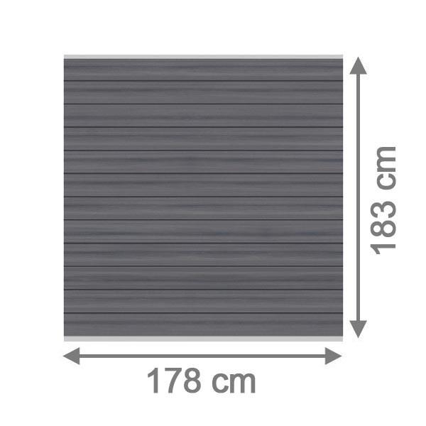 TraumGarten Sichtschutzzaun System WPC Platinum Set grau / silber - 178 x 183 cm