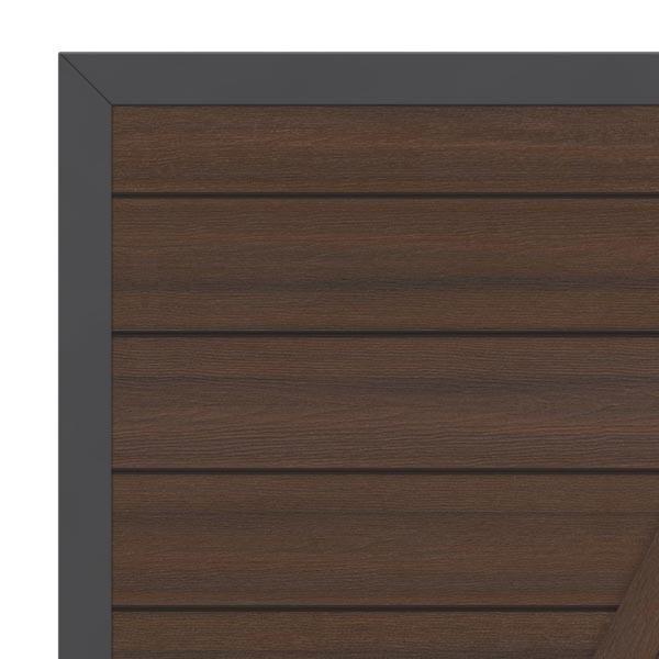 TraumGarten Gartentor System WPC Platinum DIN links braun / anthrazit - 98 x 180 cm