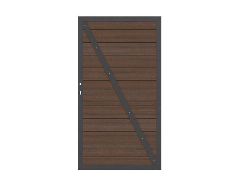 TraumGarten Gartentor System WPC Platinum DIN rechts braun / anthrazit - 98 x 180 cm
