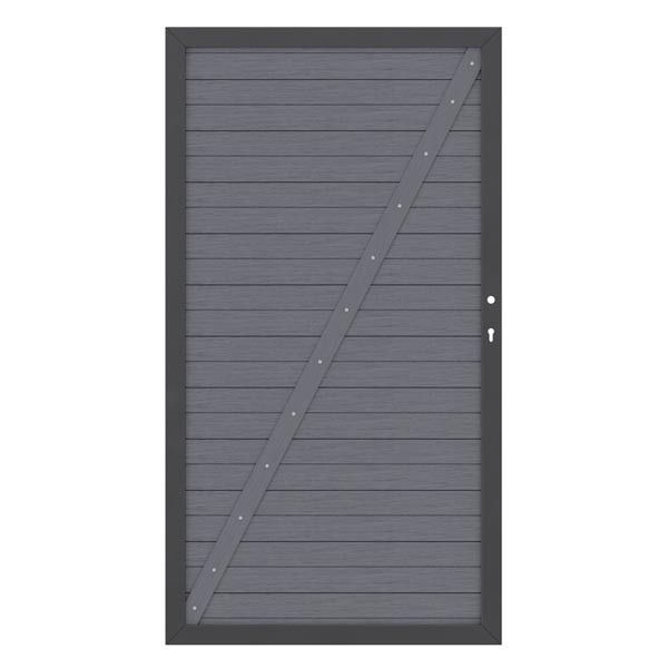TraumGarten Sichtschutzzaun System WPC Tor DIN links anthrazit / anthrazit - 98 x 179 cm