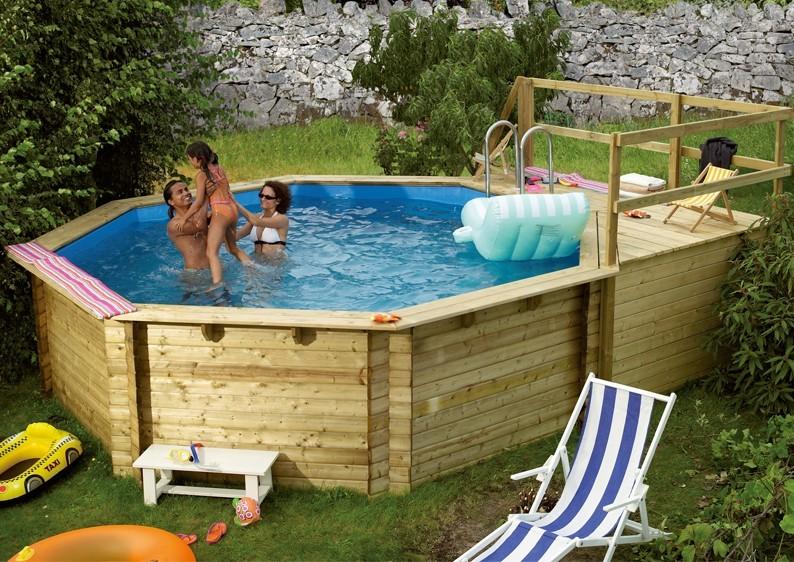 Karibu Holzpool Swimmingpool Achteck Modell C1  400 x 480 cm - kdi - inkl. Sonnenterrasse