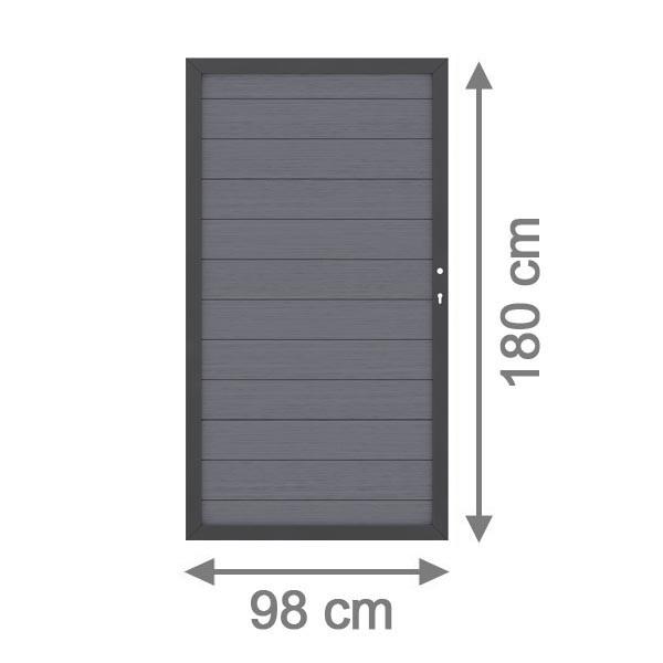 TraumGarten Sichtschutzzaun System WPC Tor DIN rechts anthrazit / anthrazit - 98 x 179 cm