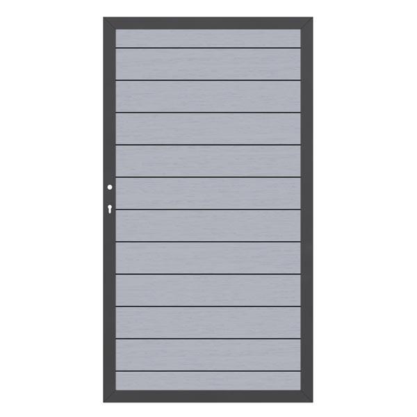 TraumGarten Sichtschutzzaun System WPC Tor DIN links grau / anthrazit - 98 x 179 cm