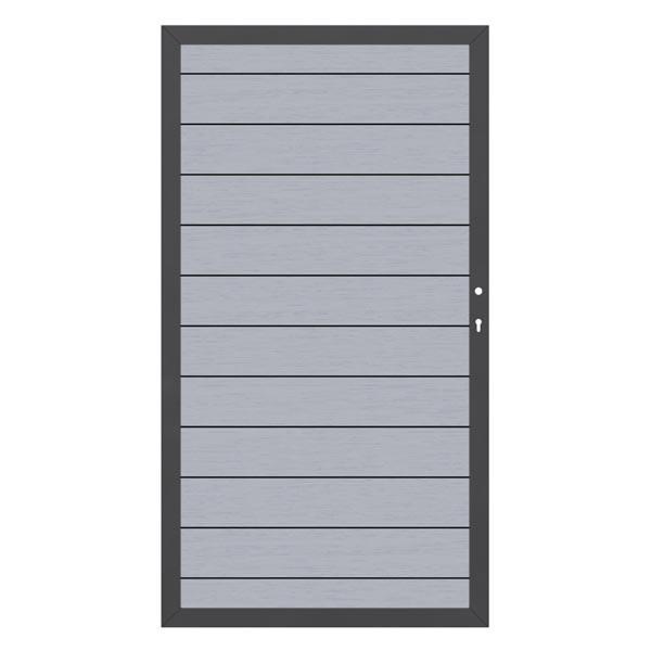 TraumGarten Gartentor System WPC DIN rechts grau / anthrazit - 98 x 179 cm