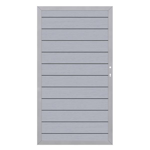 TraumGarten Sichtschutzzaun System WPC Tor DIN rechts grau / silber - 98 x 179 cm