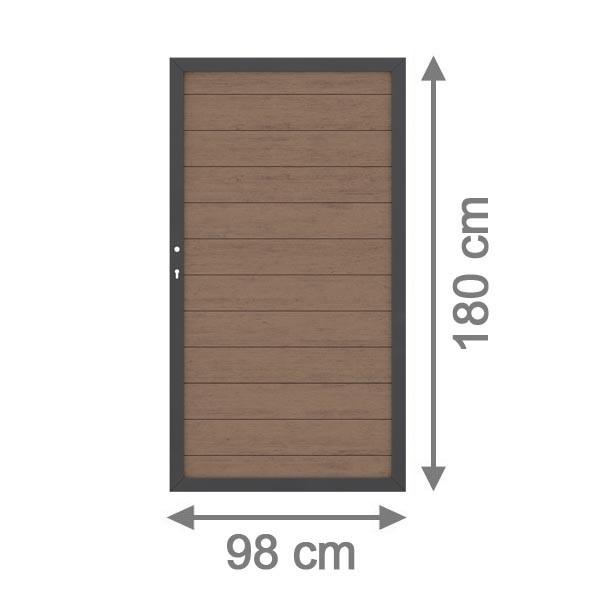 TraumGarten Gartentor System WPC DIN links mandel / anthrazit - 98 x 179 cm