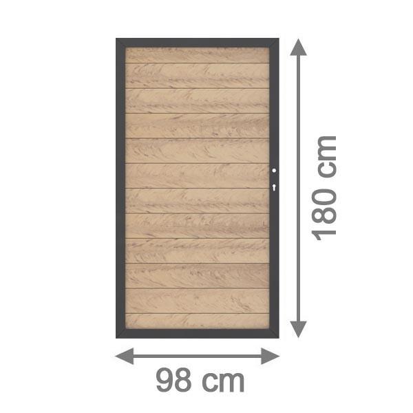 TraumGarten Sichtschutzzaun System WPC Tor DIN rechts sand / anthrazit - 98 x 179 cm