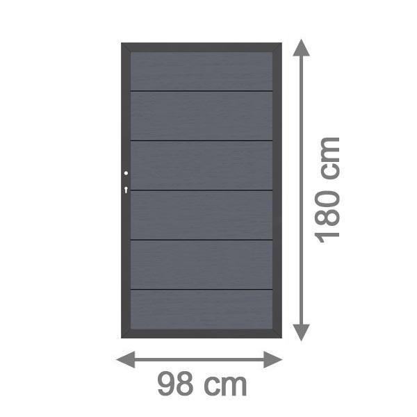 TraumGarten Sichtschutzzaun System WPC XL Tor DIN links anthrazit / anthrazit - 98 x 179 cm