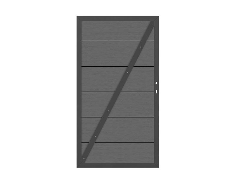 TraumGarten Gartentor System WPC XL DIN links anthrazit / anthrazit - 98 x 179 cm