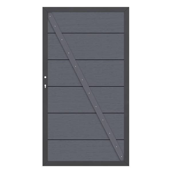 TraumGarten Gartentor System WPC XL DIN rechts anthrazit / anthrazit - 98 x 179 cm