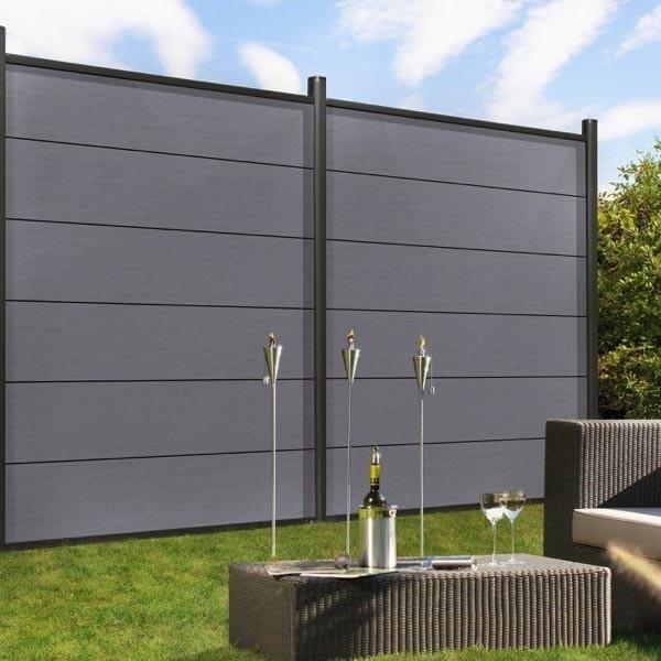 TraumGarten Sichtschutzzaun System WPC XL Set grau / silber - 178 x 183 cm
