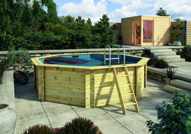 Karibu Holzpool Swimmingpool Variante A Poolgrundkörper inkl. Vlies, Folie, kdi Holzdeck und Edelstahlleiter