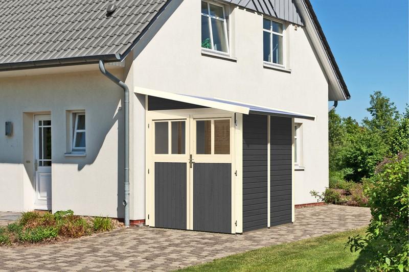 Karibu Holz-Gartenhaus Wandlitz 2 Anlehnhaus - 19 mm Wandstärke( dreiwandig)  - terragrau