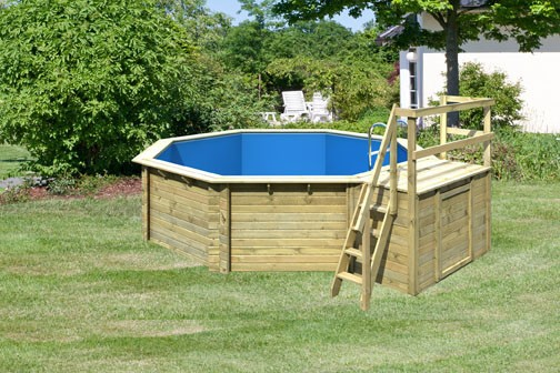 Karibu Holzpool Swimmingpool Variante B Ausstattung wie Variante A + Sonnenterrasse B inkl. Holztreppe (für Terrasse), Geländer, Seitenwände und Terrassendeck kdi