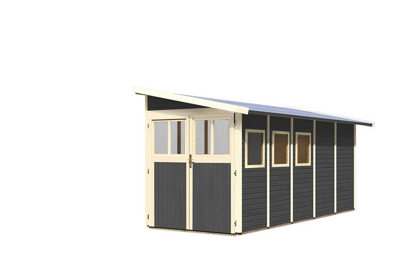 Karibu Holz-Gartenhaus Wandlitz 5 Anlehngartenhaus - 19 mm Wandstärke (dreiwandig)  - terragrau