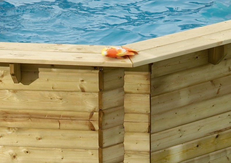 Karibu Pool Holz Swimmingpool Variante C Ausstattung wie Variante B + Sonnenterrasse A inkl. Geländer, Seitenwände und Terrassendeck kdi