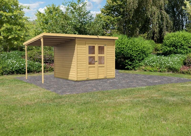 Sonderangebot: Karibu Holz-Gartenhaus Merseburg 6 im Set mit Anbaudach - 14 mm Pultdach im Steck- und Schraubsystem  - naturbelassen
