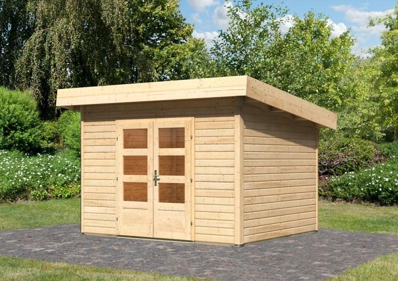 Woodfeeling Holz-Gartenhaus Flachdach Northeim 2- 40 mm System - naturbelassen
