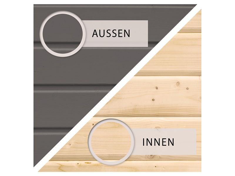 Woodfeeling Holz-Gartenhaus Schwandorf 3 - 19 mm Schraub-/Stecksystem - terragrau
