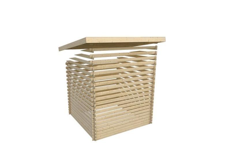 Woodfeeling Holz-Gartenhaus Pultdach Bastrup 4 - 28 mm Blockbohlen - mit 3 m Schleppdach