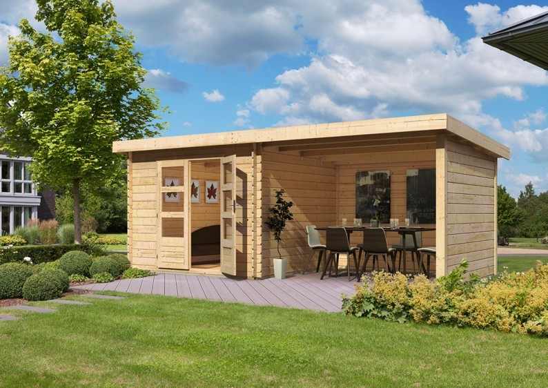 Woodfeeling Holz-Gartenhaus Pultdach Bastrup 4 - 28 mm - 3 m Schleppdach inkl. Seiten- und Rückwand