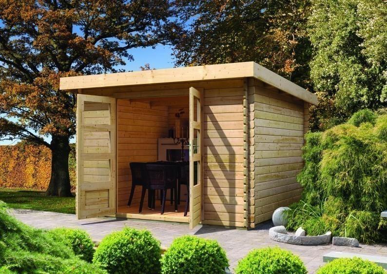 Karibu Woodfeeling Holz-Gartenhaus Pultdach Bastrup 5 - 28 mm mit 3 m Schleppdach inkl. Seiten- und Rückwand