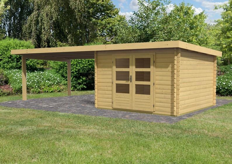 Woodfeeling Gartenhaus Pultdach Bastrup 5 - 28 mm mit 4 m Schleppdach