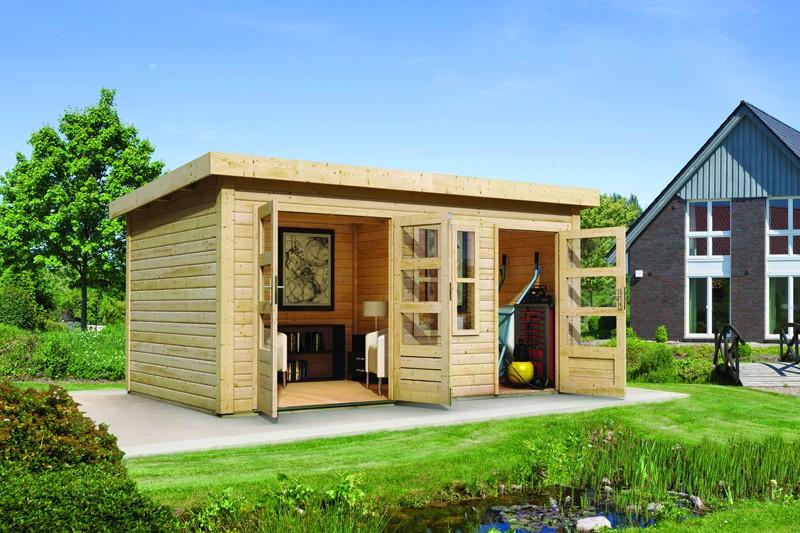 Woodfeeling Holz-Gartenhaus Schönbuch 2 Flachdach 38mm Mittelwandhaus - natur