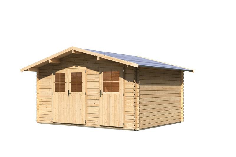 Woodfeeling Holz-Gartenhaus Radur 1 Satteldach 28 mm Blockbohlenhaus Mittelwandhaus- natur