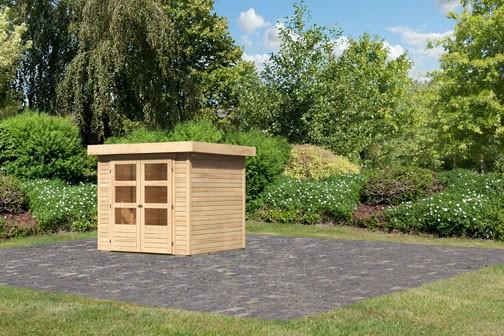 Woodfeeling Holz-Gartenhaus Askola 2 Pultdach 19 mm System - natur