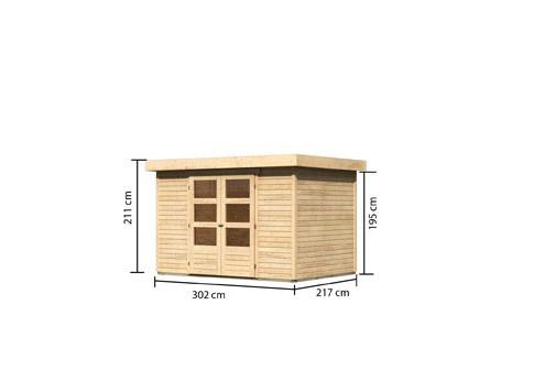 Woodfeeling Holz-Gartenhaus Askola 4 Pultdach 19 mm System - natur